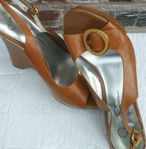 Jessica Simpson leather carmel sling bck wedge sz6